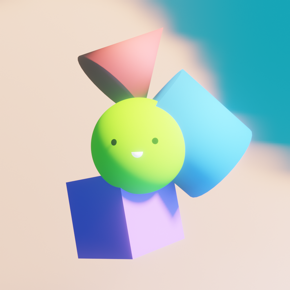3D-rendered scene with a cube, a cylinder, a cone and a sphere which has a cute face on it on a cloudy background.