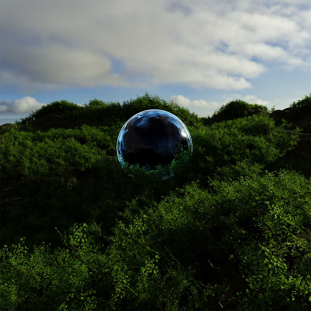 3d rendered forest landscape with a giant black glassy sphere in the center.