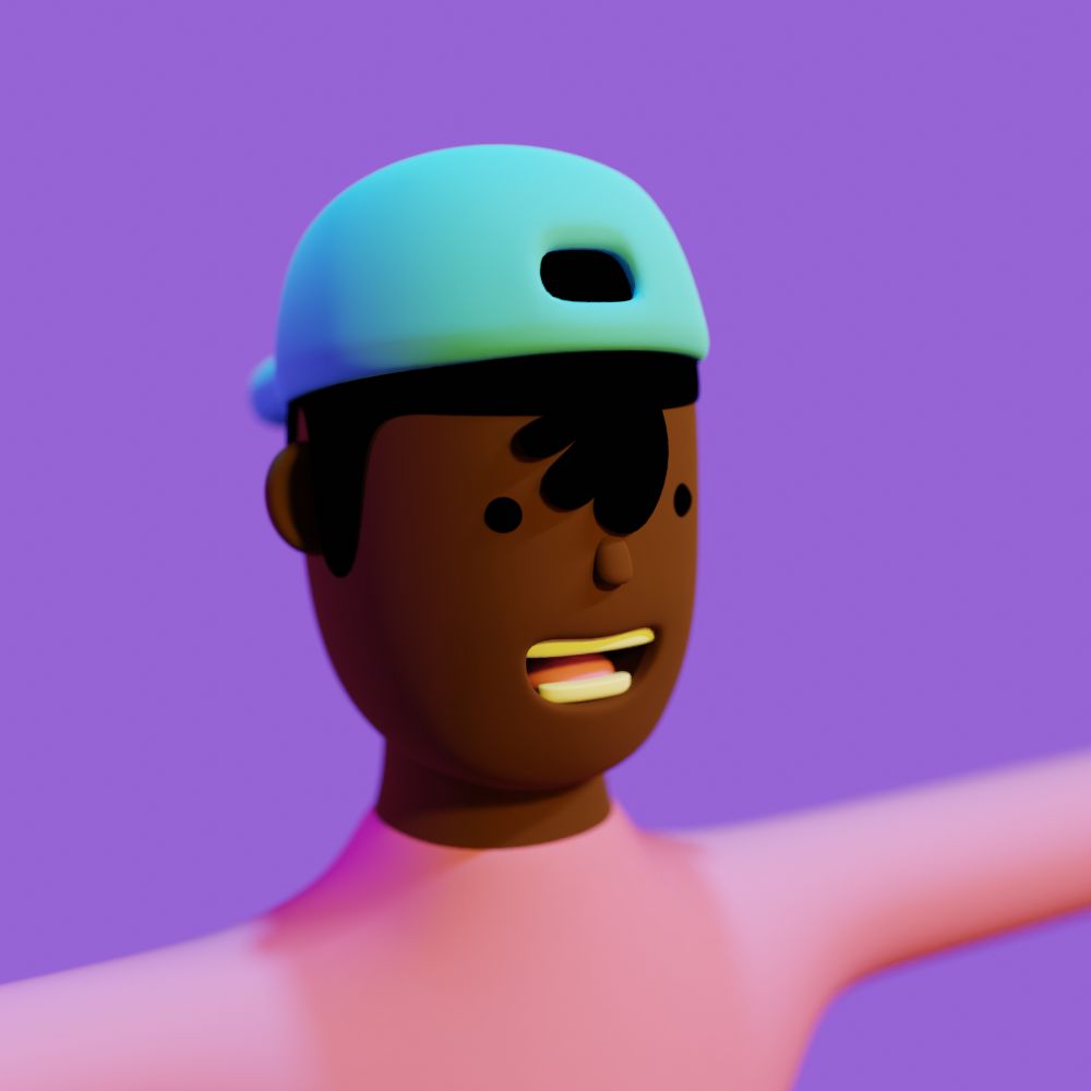 A 3d-rendered close-up portrait of a frat-boy-looking brown dude with a light-blue baseball-cap worn backwards and a pink sweater.